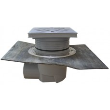 HL615HSW Трап с горизонтальным выпуском, с гидрозатвором, с гидроизоляционным полимербитумным полотном, с решеткой из нержавеющей стали и макс. нагрузкой на трап 2,5 т. (DN 110)