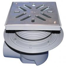 HL615S Трап с горизонтальным выпуском, с незамерзающим запахозапирающим устройством, с решеткой из нержавеющей стали и макс. нагрузкой на трап 2,5 т. (DN 110)