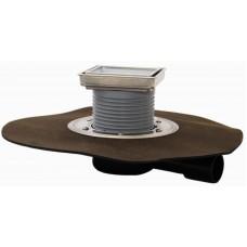 HL90H.2-3020 Трап для балконов и террас с горизонтальным выпуском, с запахозапирающим устройством, с декоративной решеткой под плитку 3020, с полимербитумным полотном