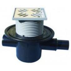 HL300Трап с обратным клапаном для предотвращения затопления помещения чере решетку трапа, с решеткой 150х150мм, Q=0,5 л/с, входом DN 40/50 и выходом DN50