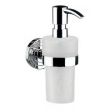Дозатор для жидкого мыла polo, 116х171х64мм,материал:матовый белый пластик,в комплекте с настенным держателем,хром арт.072100102