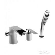 Меланж Смеситель для ванны встраиваемый, на 3 отверстия, с аксессуарами, хром/белый LM4945CW