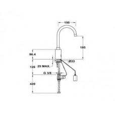 Электронный см-ль для умывальника с поворотным изливом 180мм 182-7501-03