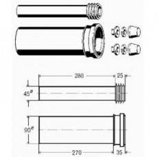 Комплект для навесного унитаза, пaтpyбoк для cмывa 45x180 мм 3817.817 Viega арт. 451 226