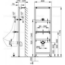 Рама для писсуара  (высота монтажа 1,2 м) A107/1200
