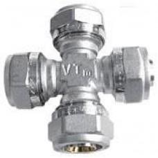 Крестовина обжим для металлопластикового трубопровода 16