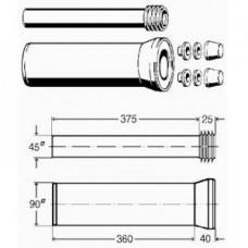 Комплект для навесного унитаза(патрубки+крепеж) 90х400 654474