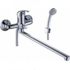 Смеситель одноручный (35 мм) для ванны, с плоским изливом 350 мм, дивертор кнопочный, хром A35-33