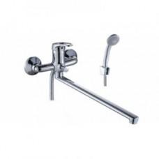 Смеситель одноручный (35 мм) для ванны, с плоским изливом 350 мм, дивертор кнопочный, хром B35-33
