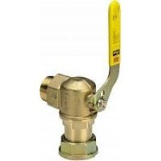 Комплект кран угловой газовый 1' НВ и уголок для газового счетчика V=2,5 к монтажной планке 533 625 618728