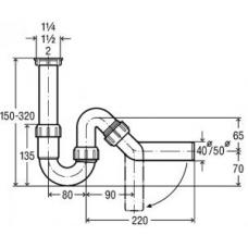 Сифон трубный 1'1/2х50 для моек,отвод 45'  115654
