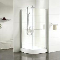 Дверки душевые, полукруглые, глянцевый хром, стекло прозрачное, поддон низкий, 90*90*185 см, Elansa, IDDIS, E20R099i23
