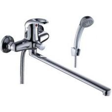 Смеситель одноручный (40 мм) для ванны, с плоским изливом 350 мм, дивертор кнопочный, хром E40-33