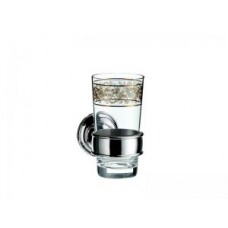Стакан, Emco Classic, 130х106х65мм,круглый держатель 60х60мм,стекло прозрачное,цвет хром/золото арт.042020702