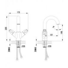 Смеситель для умывальника с поворотным изливом, хром арт. LM2706C
