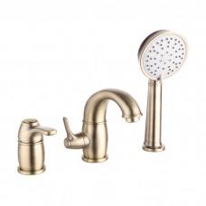 Смеситель на борт ванны на 3 отверстия с керамическим дивертором, бронза, Oldie, IDDIS, OLDBR30i07