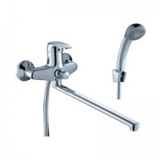 Смеситель одноручный (40 мм)  для ванны, с плоским изливом 350 мм  ,дивертор кнопочный, хром F40-33