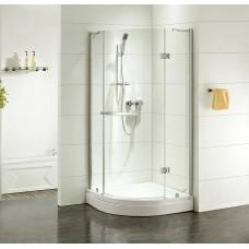 Дверки душевые, полукр, глянцевый хром, стекло прозрачное, поддон низкий, 90*90*185 см, Vane, IDDIS, V20R099i23