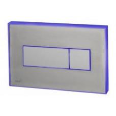 Кнопка управления с цветной пластиной (Сталь матовая) - светящиеся (Голубой)  M1471-AEZ111