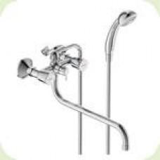 """""""ВидимаКвадро"""" смеситель для ванны/душа двуручковый с аксессуарами,  трубчатый излив 320мм, керамический переключатель, хром BA346AA"""