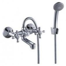 Смеситель двуручный  для ванны, с коротким изливом, хром H02-81