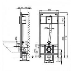 Рама для подвесного унитаза и сенсорного устройства     A114S/1200