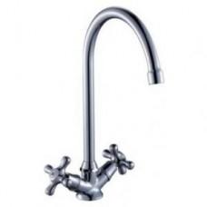 Смеситель двуручный    для кухни, с  высоким поворотным изливом 260 мм, хром H02-72
