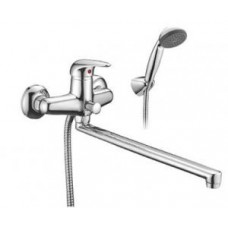 Смеситель одноручный (40 мм)  для ванны, с плоским изливом 350 мм, дивертор с к.п., хром E40-32
